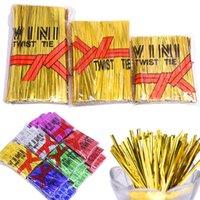 Presente Wrap 800pcs 8 cm 10cm 12cm Gold / Prata Metallic Twist laços Laços de vedação de fio para plástico Cellipo Pirulito Candy Sacos Partido Presentes