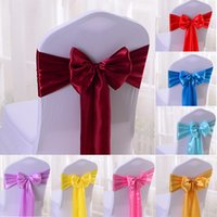17*275CM Satin Wedding Chair Sashes Burgundy Spandex Chair Cover Sashes for Banquet Hotel Decoration DIY Ribbon Bow 20 Colors