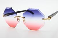 2020 New Style 4189706 aro preto chifre de búfalo Sunglasses Retângulo Unisex Óculos esculpidas lente vermelha azul nova moda óculos de sol clássicos