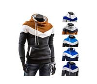 2019 남성 가을, 겨울 분할 공동 디자이너 후드 남성 캐주얼 트렌드 세 가지 색상 접합 풀오버 후드 긴 소매 스웨터 WGWY201