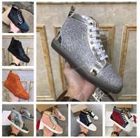 Комфорт Mens Женщины шипованных Spike Повседневная обувь платформы Red Sole Bottom Кожа Замша граффити Spike обувь тренер кроссовки Chaussure
