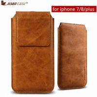 Jisoncase bolsa sacos para iphone 7 8/7 8 plus case couro genuíno de luxo fecho magnético capa para iphone 7 8 plus casos de telefone