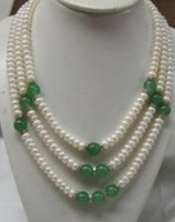 Necklace FREE Charming !3 Row 7- 8mm white pearl green jade n...