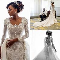 Роскошные Кристалл бисера с длинными рукавами Дубай арабский Русалка Свадебные платья с Съемные Поезд Sexy Real Pictures Plus Размер свадебное платье
