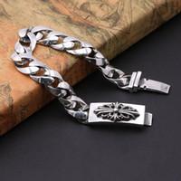 Nuevas joyas de plata de ley 925 de la vendimia de estilo europeo americano cruzadas pulseras gruesas de plata hechas a mano de los hombres del diseñador antiguo