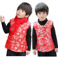 Red Celebration Children Vest Coat Chinese New Year Baby Boy...