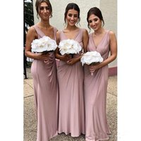 Deep V Neck Long Bridesmaid Dresses 2019 Latest Elegant Plus...