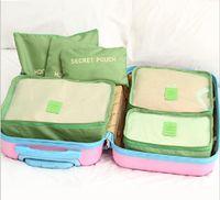 50 مجموعات مزدوجة سستة للماء حقائب السفر الرجال النساء النايلون حقيبة التعبئة مكعب حقيبة underware البرازيلي التخزين حقيبة 6 قطع مجموعة