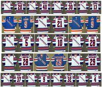 Maglie vintage New York Rangers 28 TOMAS SANDSTROM 9 Reg Fleming 9 BURE 21 SERGEI ZUBOV 5 VADNAIS 10 ESA TIKKANEN 28 P.J. STOCK CCM Hockey