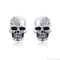Punk Skull Stud Orecchini strass cristallo strass per le donne uomini coppia vintage scheletro orecchini hip hop orecchio per borchie gioielli regali di halloween