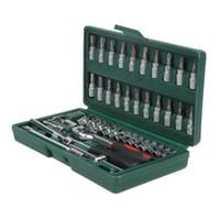 Riparazione 46pcs auto Tool Set 1/4-Inch chiave a bussola combinazione impostata Auto Riparazione Tool Kit della famiglia del cacciavite della chiave Auto Riparazione Strumenti