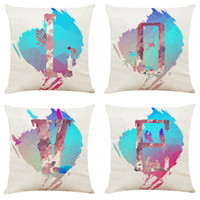 Modern Simple European Gradient LOVE Linen Cushion Covers Ho...