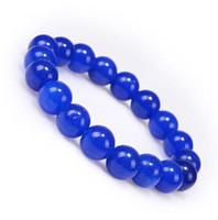 Wholesale natural brand new 10mm blue jade rosary elastic stretch bead bracelet charm fashion