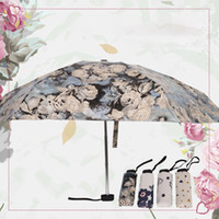 JESSE KAMM Mini Pocket Five Folding Umbrella Black Gel protector solar Anti-color Umbrella Pattern Blue Flower Rose para mujeres