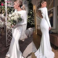 Long Sleeve Satin Wedding Dresses Mermaid Jewel Neck Bohemian Open Back Vestido De Noiva with 3D Flowers Long Wedding Dresses