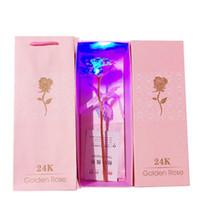 24K Altın Folyo Led Işık Gül Çiçek İçin Sevgililer Günü Hediye Yapay ışık Çiçek Düğün Hediye Kutusu Paketi HH9-2629
