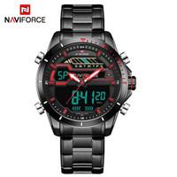 Haut de la marque de luxe Naviforce Hommes Sport Montres Homme Digital LED Horloge Hommes Full Steel Steel Military-Bracelet imperméable