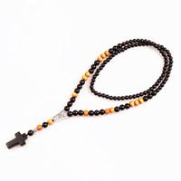 New Black grânulo de pedra Contas De Madeira com pedra preta cruz Pingente Mens Rosário Colar Mens Mala jóias