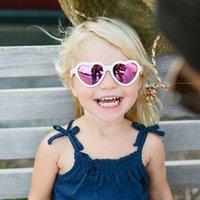 Kinder-Sonnenbrille Art und Weise neue Mädchen-Liebes-Herz-Sonnenbrille Kinder Strand Gläser Kinder adumbral Pfirsich Sonne Gläser A3394