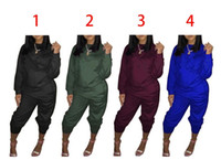 Grandi Dimensioni Donne Sport Wear stand Collar tute sexy delle donne casuale del vestito Zipper pullover con Pant Jogging 2pc Set