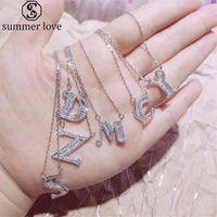 A-Z Letra inicial Colar Pingente Cubic Zircon colares para as mulheres Meninas alfabeto afortunado de prata jóias presente do dia-Z Namorados