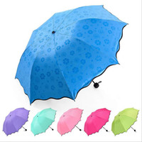 Vollautomatische Regenschirm Regen Frauen Männer 3 Folding Light und Durable 8 Karat Starke Regenschirme Kinder Rainy Sunny Regenschirme 6 Farben CCA11780 30 stücke