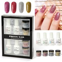 8pc Nail Set Infiltration Glitter Chrome With Bond Bottom Ge...