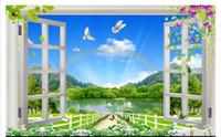 Papier peint 3D personnalisé photo soie papier peint mural Super belle nature paysage 3D fenêtre en trois dimensions murale arrière plan stickers de mur