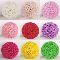 Düğün Süslemeleri Çiçek Topu 12 inç İpek Pomander Kissing Topları Yapay Çiçekler Düğün için Bahçe Pazarı Dekorasyon LXL208-A
