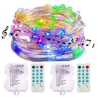 Sound Activated Music Fairy Lights Batteriebetriebene 16.4Ft 50 LED wasserdichte Lichterketten mit Fernbedienung für Schlafzimmerhochzeit