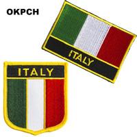 Бесплатная доставка Италия флаг вышивка железа на патч 2 шт. за комплект PT0206-2