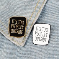 Introvert Enamel Pin Black White Badge too peopley Brooches Bag Clothes Lapel pin Punk Jewelry Gift for Introverts Friends
