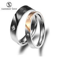 Love Life Diamant-Ring für Frauen-Mann-Qualitäts-Edelstahl-Hochzeits-Verpflichtungs-Silber-Paar-Ring Valentinstag Schmuck-Y