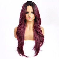 Blonde Ombre Cor Wig Natural Natural Black Body Wave Wigs 2 # 4 # Azul Alta Qualidade Resistente ao calor Sintético Perucas de renda reta
