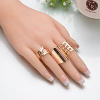 4 pc / set punk oro foglie di colore grande formato Knuckle Ring Set 2019 nuovo arrivo Hollow anelli dei fiori per le donne regalo R453