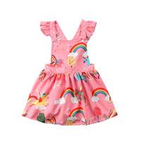 1-6 anni delle ragazze dei capretti dell'arcobaleno Abiti Unicorn Suumer vestito operato dal fumetto maniche Backless fasciatura abiti Travestimenti Costume