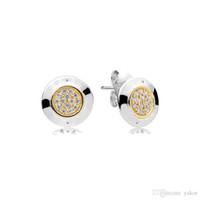 التصميم الكلاسيكي جولة القرص 14K مطلية بالذهب مسمار القرط مجموعة المربع الأصلي ل باندورا 925 الفضة تشيكوسلوفاكيا أقراط الماس للنساء