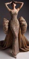 Abiti da paceant oro Haute Couture Appliques Shiny Evening Sera Prom Dress One Spalla Long Sleelve