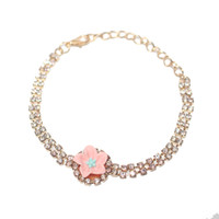 12pcs Fashion Adjustable Charm Bracelets with Pink Flower Fo...