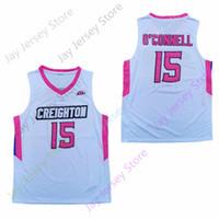 2020 Nova NCAA Creighton Bluejays Jerseys 15 O'Connell Basketball Jersey Tudo costurado e bordado