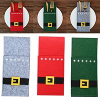 حامل عيد الميلاد أدوات المائدة الديكور سانتا كلوز حزام ثلج سكين وشوكة أكياس أغطية للحزب عيد الميلاد عشاء الجدول الديكور DHL WX9-1693