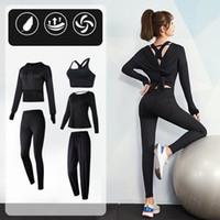 Vansydical Kadınlar Spor Yoga Suit 2-5 adet itin Yukarı Tozluklar Seti Seksi Backless Kadın Fitnes Egzersiz için Gym Tayt Suits Tops