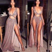 나이트 클럽 우아한 드레스 vestidos는 페스타 여성 드 섹시한 드레스는 적갈색 반짝 스팽글 긴 저녁 맥시 봄 파티 드레스 2199 핑크