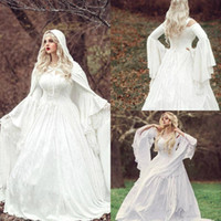 2020 Vintage-Gothic Brautkleider Satin Spitze A lineschleifezug Bohemian Brautkleid nach Maß lange Hülsen-Brautroben De Mariée