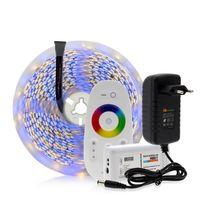 5050 светодиодные ленты RGB / RGBW / RGBWW 5M 300LEDs неоновая лента Light + 2,4 G контроллер + DC 12V 3A Блок питания Пульт дистанционного