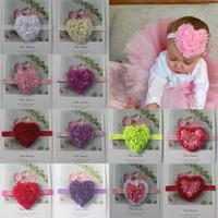 Kız içinde 100pcs 8 cm Şifon Rozet Kalp Çiçek Bantlar Saç Aksesuarları, Kız FOE Kafa Çiçek, şifon Kalp Çiçek