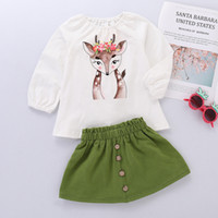 Retail Baby Christmas outfits 2pcs Set girls deer printed ts...