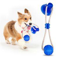 Mascota Molar mordedura de perro multifuncional Juguete Morder juguetes de goma Chew limpieza de los dientes de la bola de seguridad elasticidad suave Dental Care ventosa YTH1480