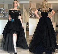 2019 High Low Prom Dresses A Line Off Shoulder Lace Tulle Sw...