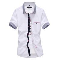 남자 드레스 셔츠 왼쪽 ROM 2021 패션 남성 여름 고급 순수 면화 반소매 셔츠 / 남성 통기성 옷깃 캐주얼 4XL 5XL
